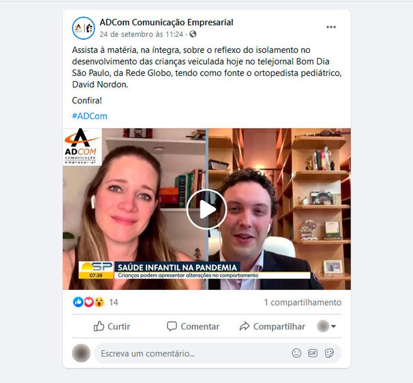Matéria veiculada dia 24/09/2020 no telejornal Bom Dia São Paulo, da Rede Globo, tendo como fonte o ortopedista pediátrico, David Nordon.